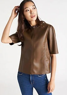 Ann Taylor Faux Leather Ruffle Neck Top