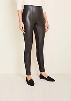 Ann Taylor Faux Leather Seamed Side Zip Leggings