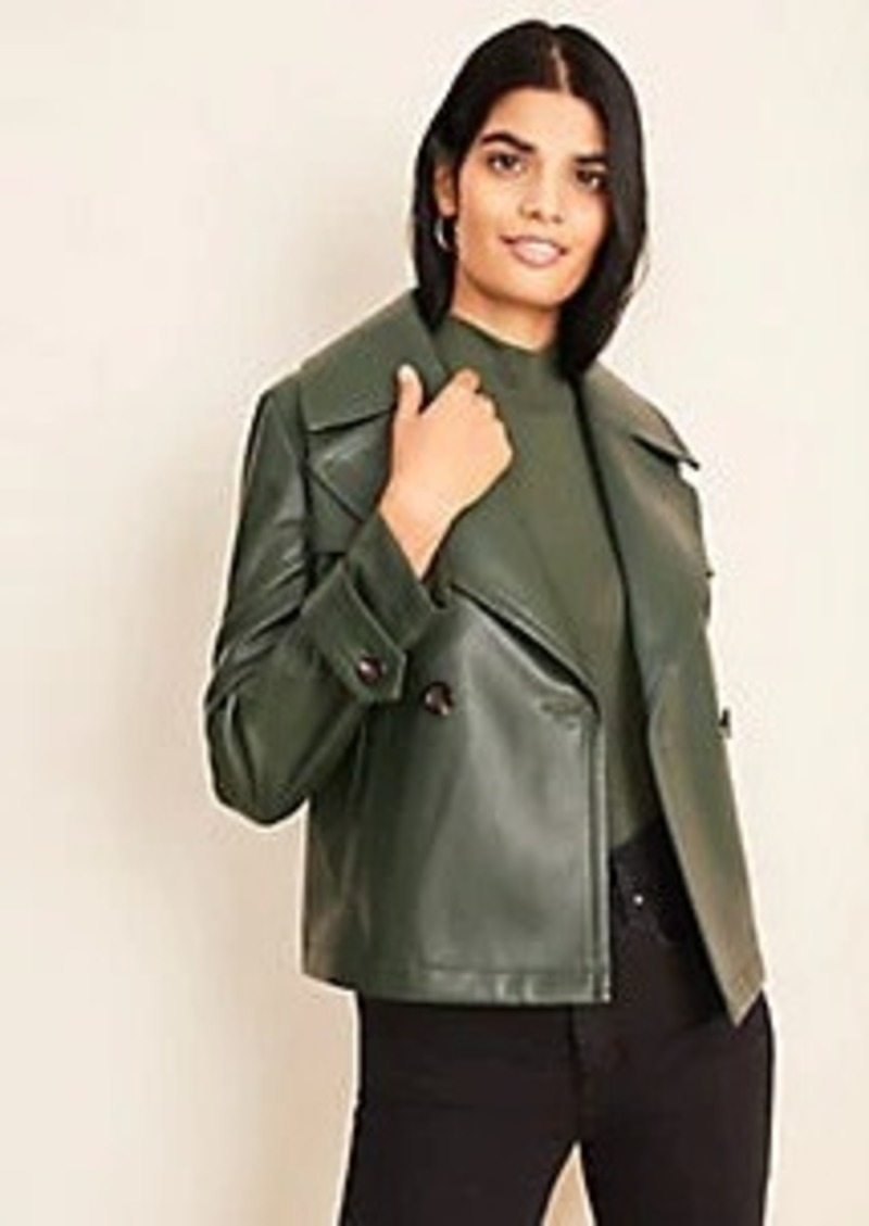 Ann Taylor Faux Leather Short Trench Coat
