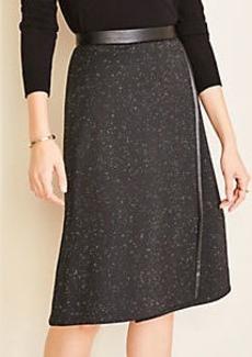 Ann Taylor Faux Leather Trim A-Line Wrap Skirt