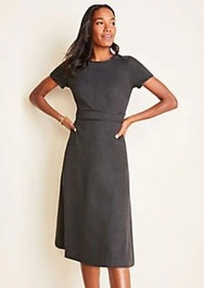 Ann Taylor Faux Leather Trim Melange Flare Dress