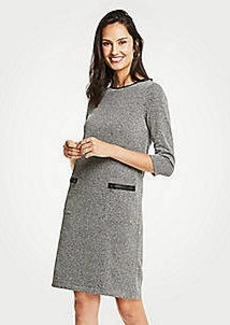 Ann Taylor Faux Leather Trim Tweed Shift Dress