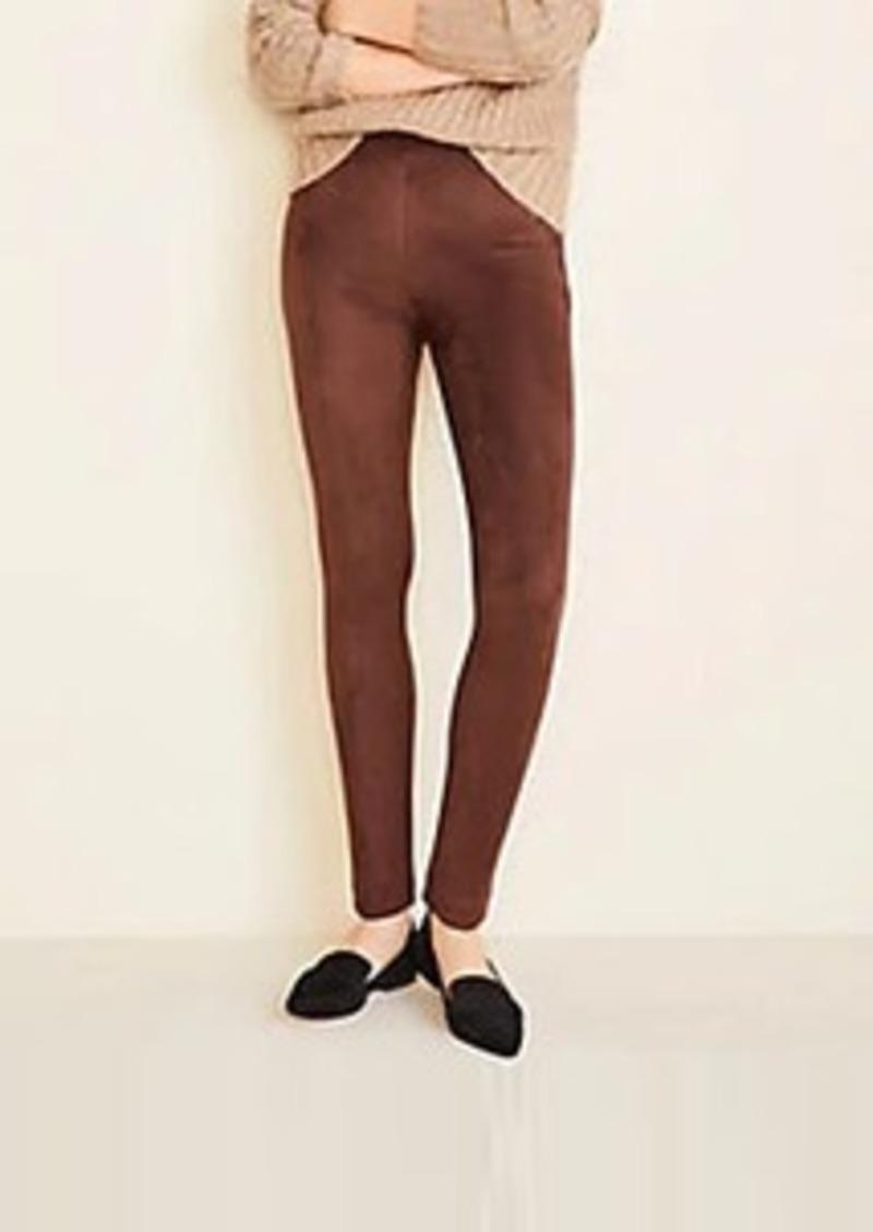 Ann Taylor Faux Suede Seamed Side Zip Leggings