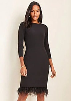 Ann Taylor Feathered Boatneck Sheath Dress