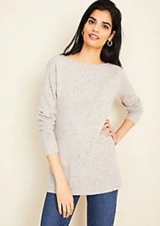 Ann Taylor Flecked Cashmere Boatneck Tunic Sweater