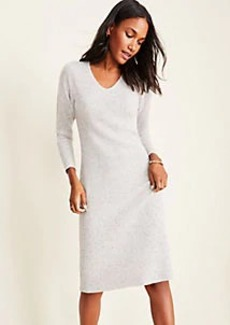 Ann Taylor Flecked Cashmere V-Neck Sweater Dress