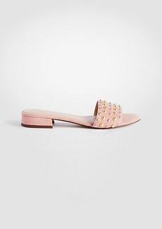 Ann Taylor Fleur Suede Studded Slide Sandals