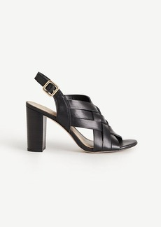 Flor Woven Leather Block Heels