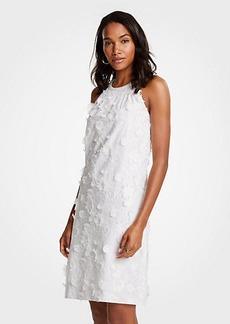 Ann Taylor Floral Applique Halter Dress