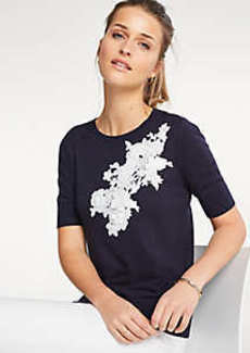 Ann Taylor Floral Applique Sweater Tee