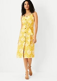 Ann Taylor Floral Belted Button Dress