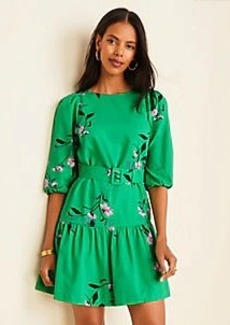 Ann Taylor Floral Belted Flounce Shift Dress