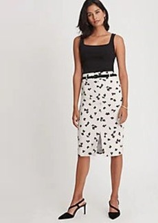 Ann Taylor Floral Belted Pencil Skirt
