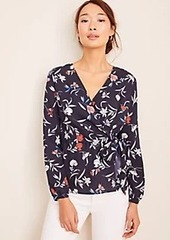 Ann Taylor Floral Belted Wrap Top