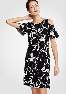 Ann Taylor Floral Cold Shoulder Sweater Dress