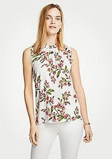 Ann Taylor Floral Corded Ruffle Neck Shell