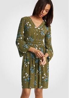 Floral Cutout Flare Sleeve Dress