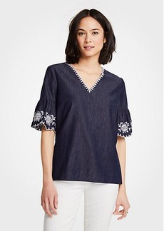 Ann Taylor Floral Embroidered Denim Top