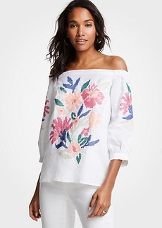 Ann Taylor Floral Embroidered Off The Shoulder Top