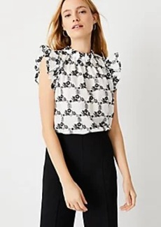 Ann Taylor Floral Embroidered Ruffle Shell