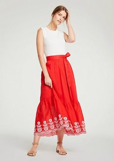 Ann Taylor Floral Embroidered Tie Waist Maxi Skirt