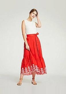 Ann Taylor Floral Embroidered Tie Waist Maxi Skirt