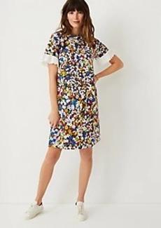 Ann Taylor Floral Eyelet Cuff Shift Dress