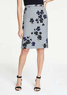 Ann Taylor Floral Flounce Back Pencil Skirt