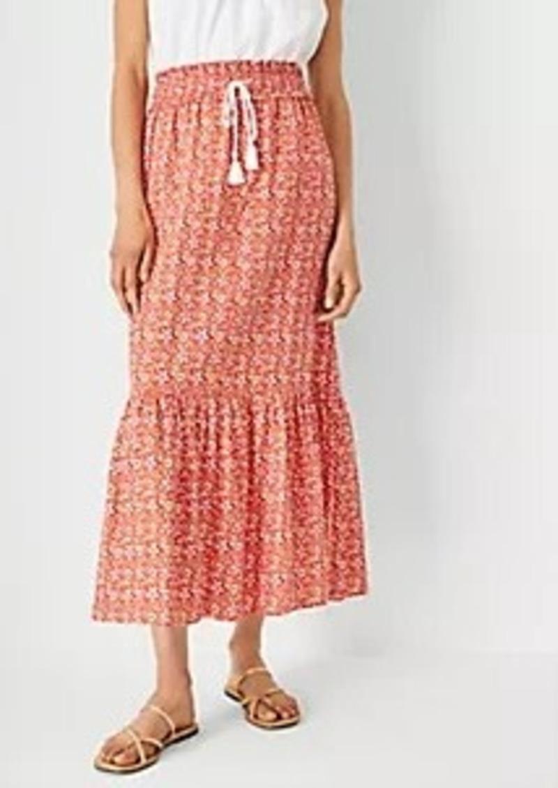 Ann Taylor Floral Flounce Drawstring Maxi Skirt