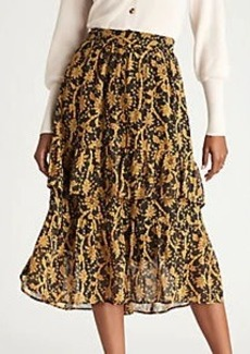 Ann Taylor Floral Flounce Midi Skirt