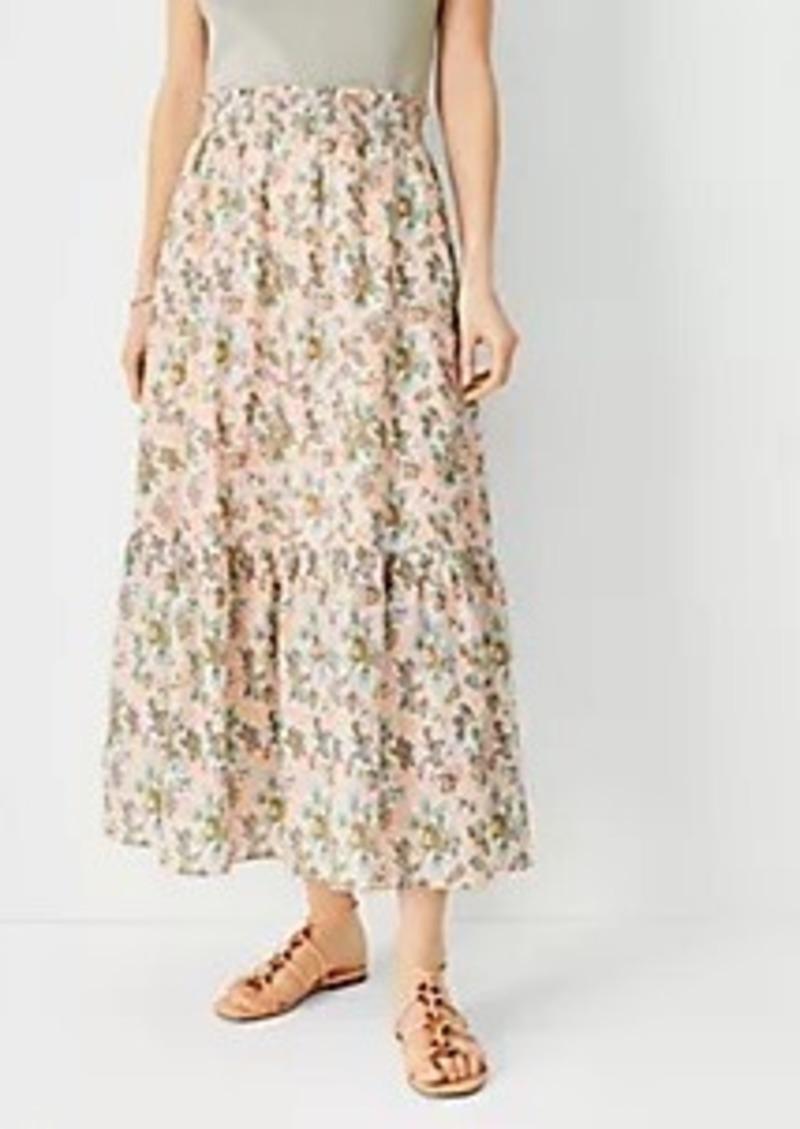 Ann Taylor Floral Flounce Pull On Maxi Skirt
