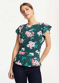 Ann Taylor Floral Flutter Sleeve Banded Hem Top