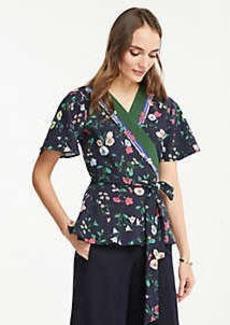 Ann Taylor Floral Flutter Sleeve Belted Wrap Top
