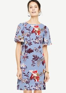 Floral Flutter Sleeve Shift Dress