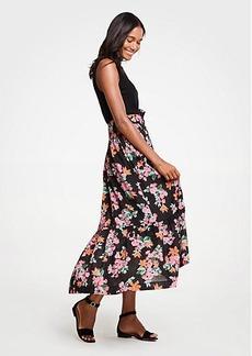 Ann Taylor Floral Garden Belted Maxi Skirt