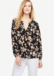 Ann Taylor Floral Georgette Split Neck Blouse
