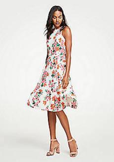 Ann Taylor Floral Halter Bow Back Flare Dress