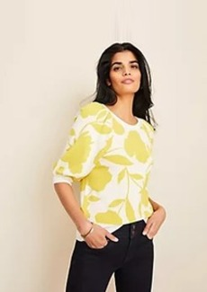 Ann Taylor Floral Jacquard Puff Sleeve Sweater