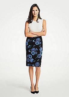 Ann Taylor Floral Jacquard Sweater Pencil Skirt