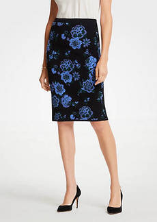 Ann Taylor Floral Jacquard Sweater Pencil Skirt