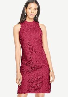 Floral Lace Mock Neck Dress
