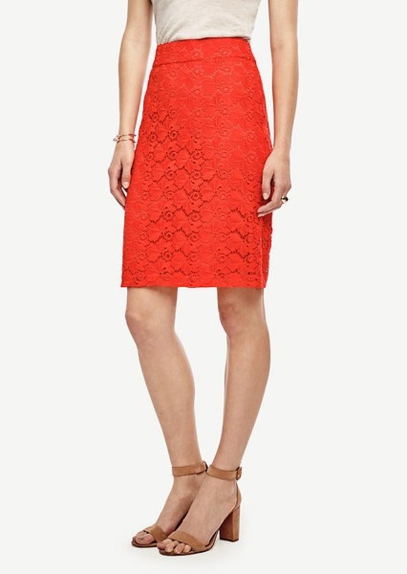 Ann Taylor Floral Lace Pencil Skirt