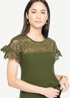 Ann Taylor Floral Lace Yoke Sweater