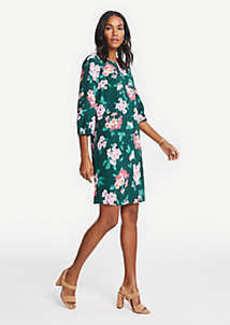 Ann Taylor Floral Lantern Sleeve Shift Dress