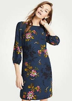 Ann Taylor Floral Lantern Sleeve Shift Dress
