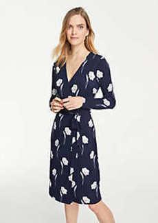 Ann Taylor Floral Matte Jersey Wrap Dress