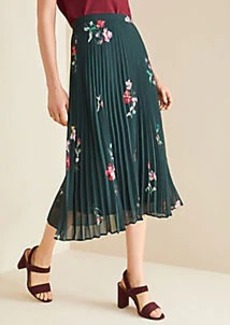 Ann Taylor Floral Micro Pleat Skirt
