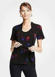 Ann Taylor Floral Mixed Tie Neck Tee