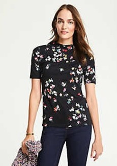 Ann Taylor Floral Mock Neck Top