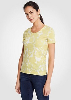 Ann Taylor Floral Pima Cotton Scoop Neck Tee
